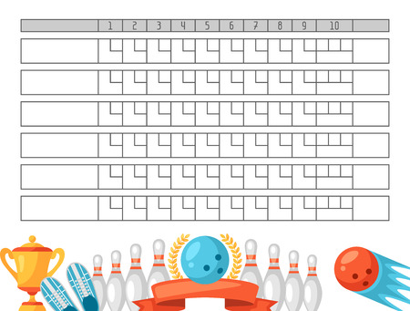 Bowling scoreblad. Blanco sjabloon scorebord met spel objecten. Vector Illustratie