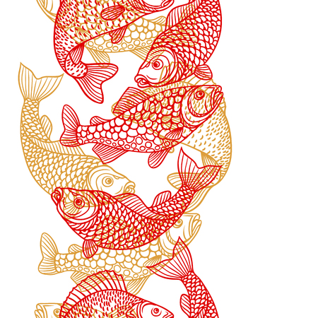 paper mask: Seamless pattern with decorative fish. Background made without clipping mask. Easy to use for backdrop, textile, wrapping paper. Illustration