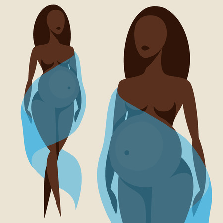 tummy: Stylized silhouette of pregnant woman. Illustration for websites, magazines and brochures. Illustration