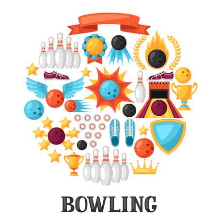 flayers: Background with bowling items. Image for advertising booklets, banners and flayers.