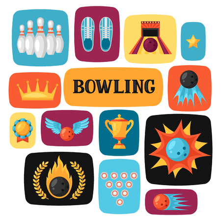 for advertising: Background with bowling items. Image for advertising booklets, banners and flayers.