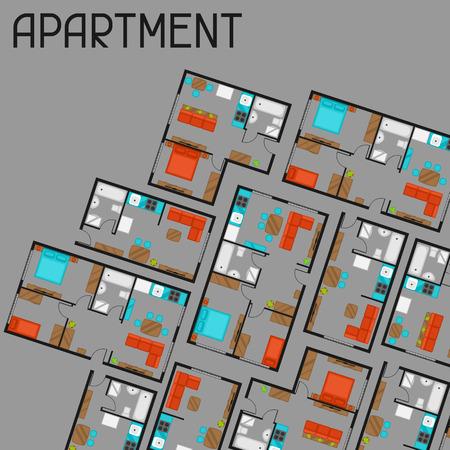Achtergrond met architectonische projecten van het appartement en meubels.