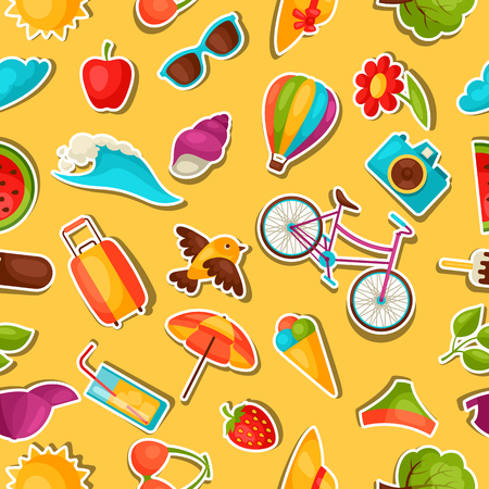 paper mask: Seamless pattern with summer stickers. Background made without clipping mask. Easy to use for backdrop, textile, wrapping paper. Illustration