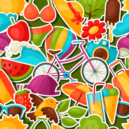 summer holiday: Seamless pattern with summer stickers. Background made without clipping mask. Easy to use for backdrop, textile, wrapping paper. Illustration