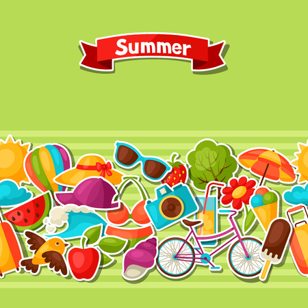 sticky: Seamless pattern with summer stickers. Background made without clipping mask. Easy to use for backdrop, textile, wrapping paper. Illustration
