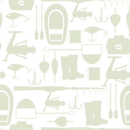 Seamless pattern with fishing supplies. Background made without clipping mask. Easy to use for backdrop, textile, wrapping paper.