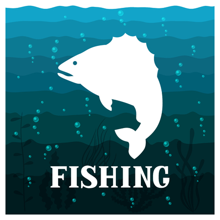 Fishing illustration with fish. Design for cards, covers, brochures and advertising booklets.