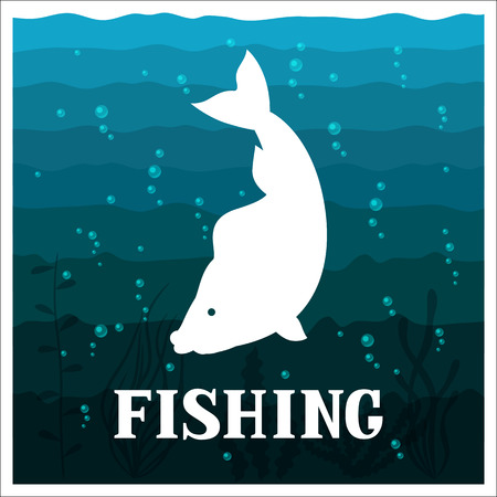 sportfishing: Fishing illustration with fish. Design for cards, covers, brochures and advertising booklets.
