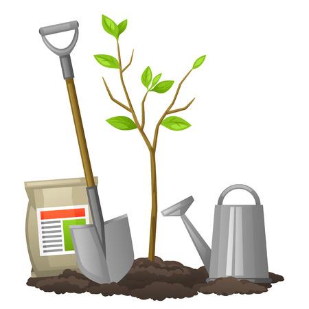 las plántulas de árboles frutales con la pala, fertilizantes y regadera. Ilustración para folletos agrícolas, folletos jardín.