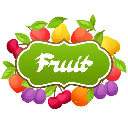 ripe: Background design with stylized fresh ripe fruits.