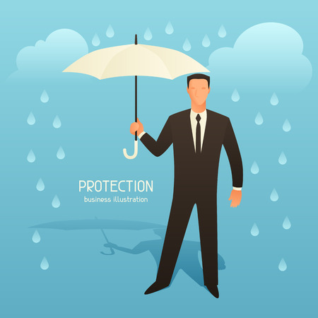 articles: Protection business conceptual illustration with businessman holding umbrella. Image for web sites, articles, magazines.