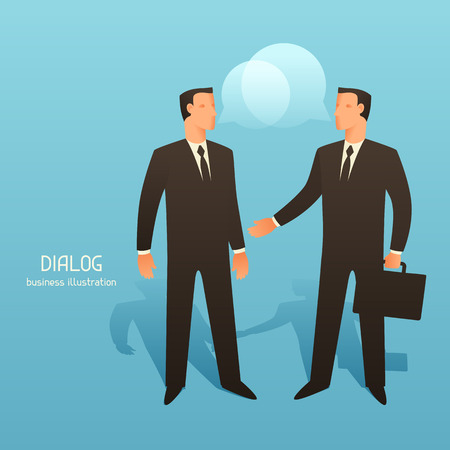 articles: Dialogue business conceptual illustration with talking businessmen. Image for web sites, articles, magazines.