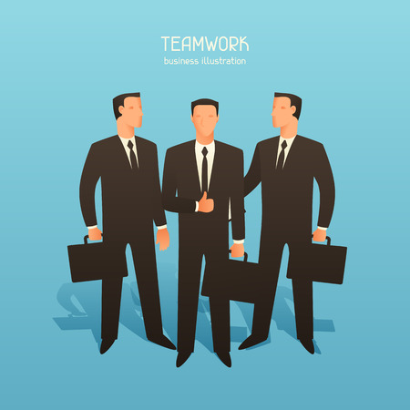 articles: Teamwork business conceptual illustration with businessmen. Image for web sites, articles, magazines.
