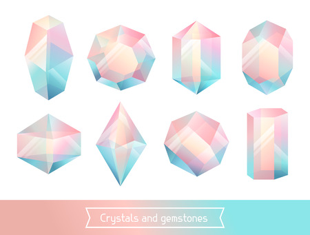 Set of geometric crystals gem and minerals.