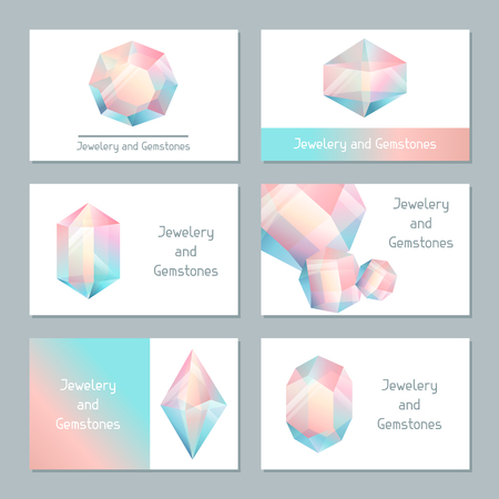 minerals: Set of business cards with geometric crystals and minerals. Illustration