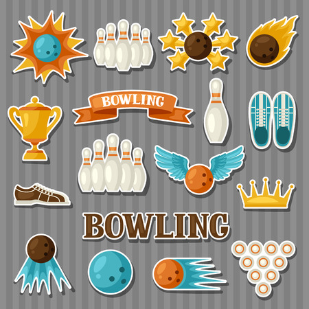 skittle: Set of bowling items. Objects for decoration, design on advertising booklets, banners, flayers.