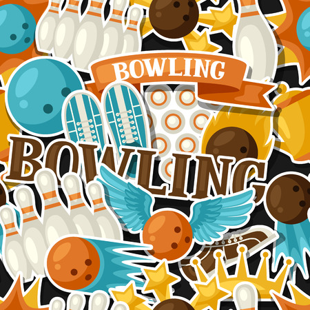 clipping mask: Seamless pattern with bowling items. Background made without clipping mask. Easy to use for backdrop, textile, wrapping paper.