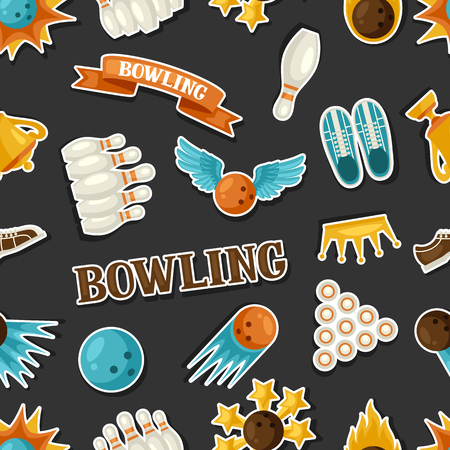 skittle: Seamless pattern with bowling items. Background made without clipping mask. Easy to use for backdrop, textile, wrapping paper.