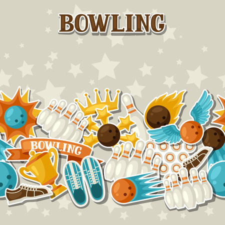 fire ball: Seamless pattern with bowling items. Background made without clipping mask. Easy to use for backdrop, textile, wrapping paper.