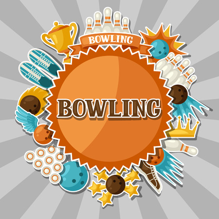 skittle: Background with bowling items. Image for advertising booklets, banners and flayers.