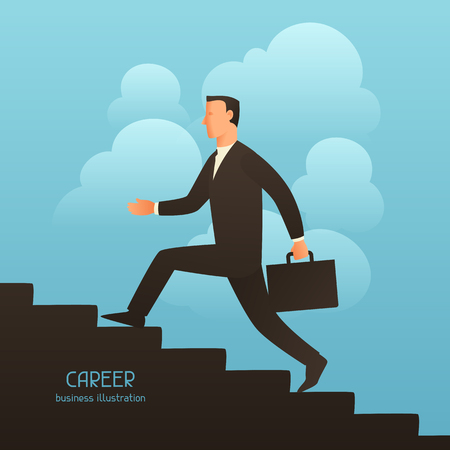 going up: Career business conceptual illustration with businessman going upstairs. Image for web sites, articles, magazines.