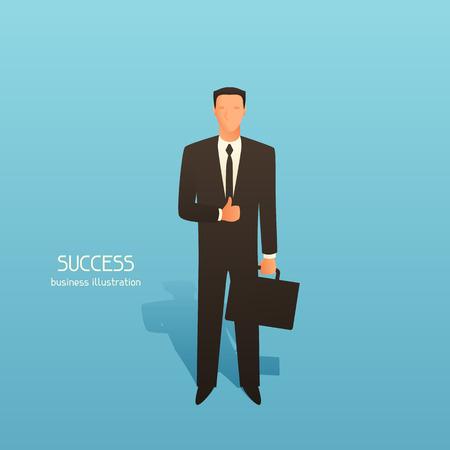 Illustrazione concettuale di business di successo con l'uomo d'affari. Immagine per siti web, articoli, riviste.