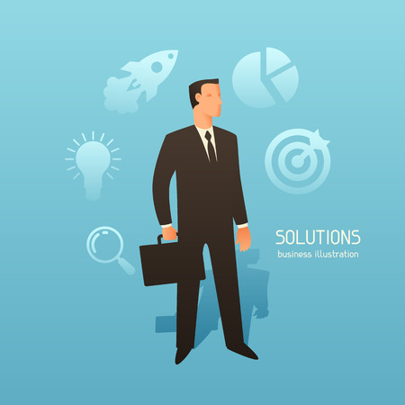 articles: Solution business conceptual illustration with businessman. Image for web sites, articles, magazines.