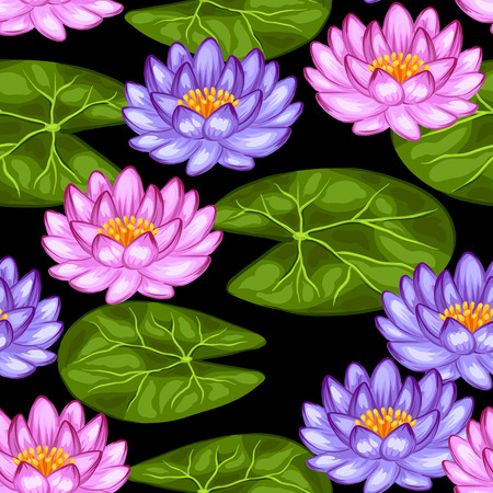 lily flower: Natural seamless pattern with lotus flowers and leaves. Background made without clipping mask. Easy to use for backdrop, textile, wrapping paper.