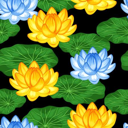 Modelo inconsútil natural con flores y hojas de loto. Antecedentes de hecho sin la máscara de recorte. Fácil de usar para el telón de fondo, textiles, papel de envolver.