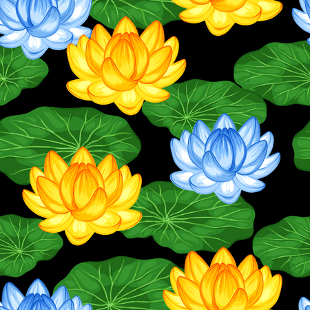Natural seamless pattern with lotus flowers and leaves. Background made without clipping mask. Easy to use for backdrop, textile, wrapping paper.