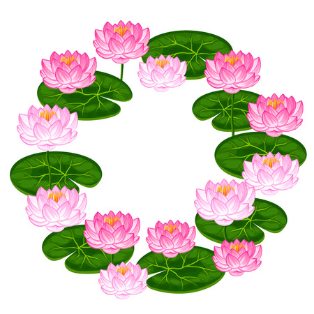 Natural frame with lotus flowers and leaves. Image for invitations, greeting cards, posters, flayers.
