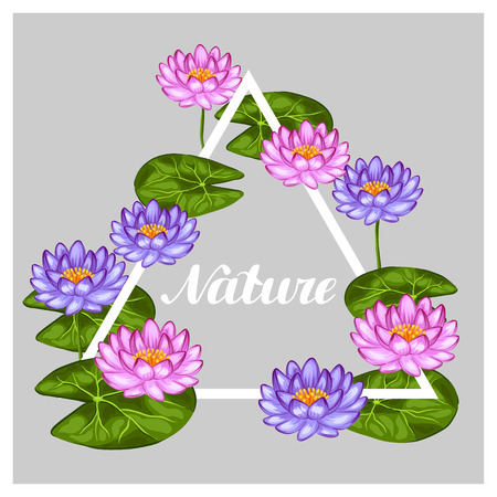 flayers: Natural frame with lotus flowers and leaves. Image for invitations, greeting cards, posters, flayers.