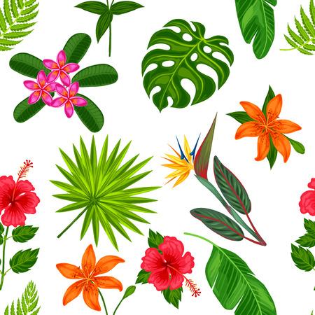 pflanzen: Nahtlose Muster mit tropischen Pflanzen, Blättern und Blüten. Hintergrund gemacht, ohne Clipping-Maske. Einfach für Kulisse, Textil, Geschenkpapier zu verwenden.