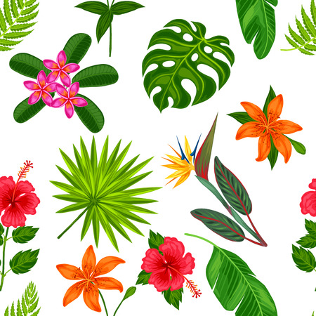 Seamless pattern with tropical plants, leaves and flowers. Background made without clipping mask. Easy to use for backdrop, textile, wrapping paper.