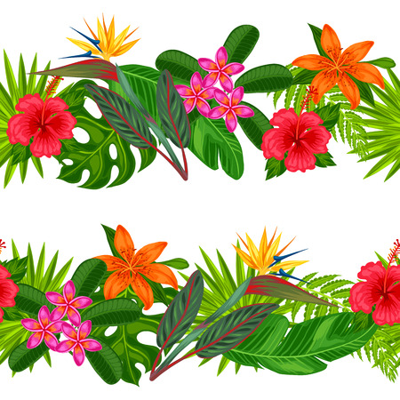 Seamless horizontal borders with tropical plants, leaves and flowers. Background made without clipping mask. Easy to use for backdrop, textile, wrapping paper. Stock Illustratie