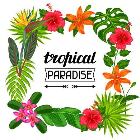Tropisch paradijs frame met gestileerde bladeren en bloemen. Afbeelding voor reclame folders, banners, Flayers. Vector Illustratie