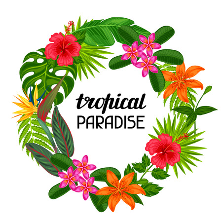 Tropical paradise frame with stylized leaves and flowers. Image for advertising booklets, banners, flayers.