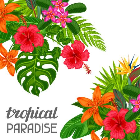 tarjeta de paraíso tropical con flores y hojas estilizadas. Imagen de folletos publicitarios, banners, desolladores. Ilustración de vector