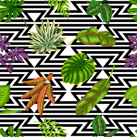 tropical plants: Seamless pattern with tropical plants and leaves. Background made without clipping mask. Easy to use for backdrop, textile, wrapping paper. Illustration