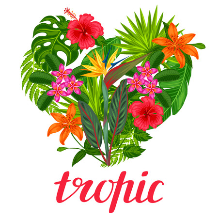 Background with stylized tropical plants, leaves and flowers. Image for advertising booklets, banners, flayers, cards, textile printing. Ilustracja