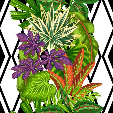 Seamless avec des plantes tropicales et des feuilles. Contexte faite sans masque d'écrêtage. Facile à utiliser pour toile de fond, le textile, le papier d'emballage.
