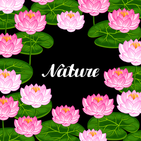 Natural background with lotus flowers and leaves. Image for invitations, greeting cards, posters, flayers.