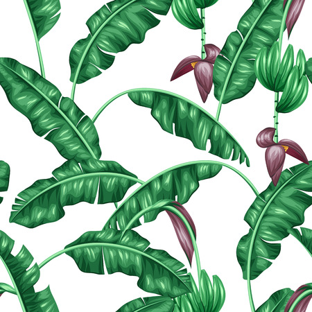Seamless pattern with banana leaves. Decorative image of tropical foliage, flowers and fruits. Background made without clipping mask. Easy to use for backdrop, textile, wrapping paper. Vettoriali