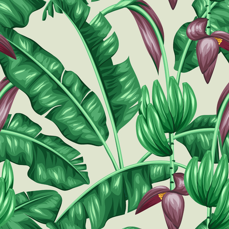 Seamless pattern with banana leaves. Decorative image of tropical foliage, flowers and fruits. Background made without clipping mask. Easy to use for backdrop, textile, wrapping paper. Illustration