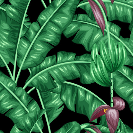 Seamless pattern with banana leaves. Decorative image of tropical foliage, flowers and fruits. Background made without clipping mask. Easy to use for backdrop, textile, wrapping paper. 일러스트