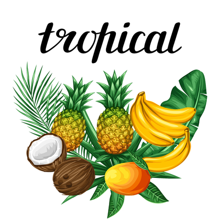 Background with tropical fruits and leaves. Design for advertising booklets, labels, packaging, textile printing.