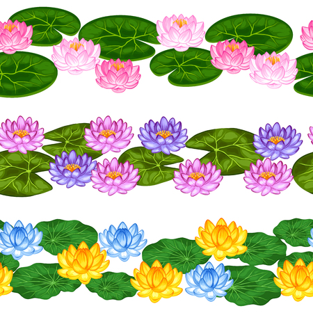 water plants: Natural seamless borders with lotus flowers and leaves. Background made without clipping mask. Easy to use for backdrop, textile, wrapping paper.