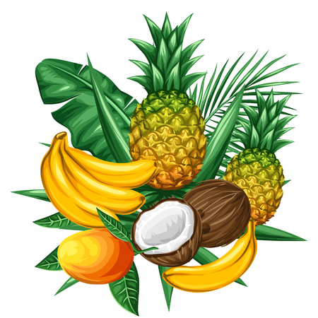 Background with tropical fruits and leaves. Design for advertising booklets, labels, packaging, textile printing. 向量圖像