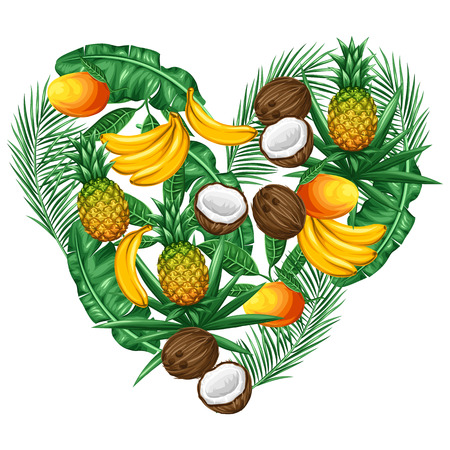 Background with tropical fruits and leaves. Design for advertising booklets, labels, packaging, textile printing. 版權商用圖片 - 55577746