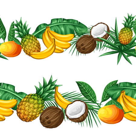exotic fruit: Seamless pattern with tropical fruits and leaves. Background made without clipping mask. Easy to use for backdrop, textile, wrapping paper. Illustration